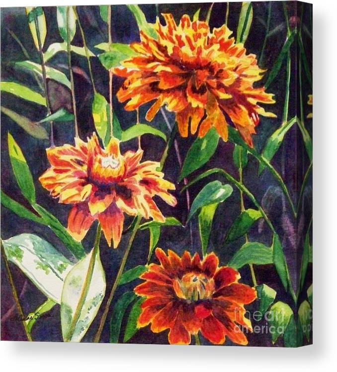 Flowers Canvas Print featuring the painting Orange Zinnias by LeAnne Sowa