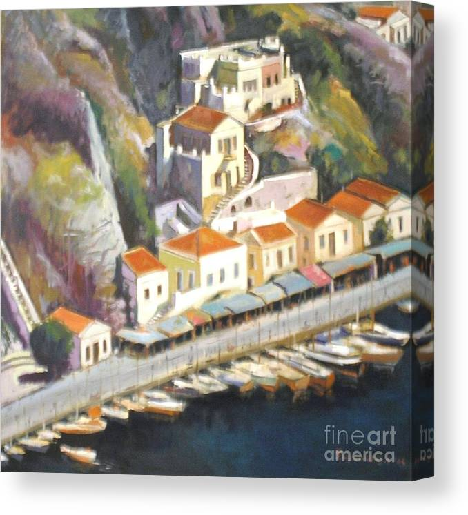 Islands>greece.greek Islands . Canvas Print featuring the painting Sifnos by George Siaba