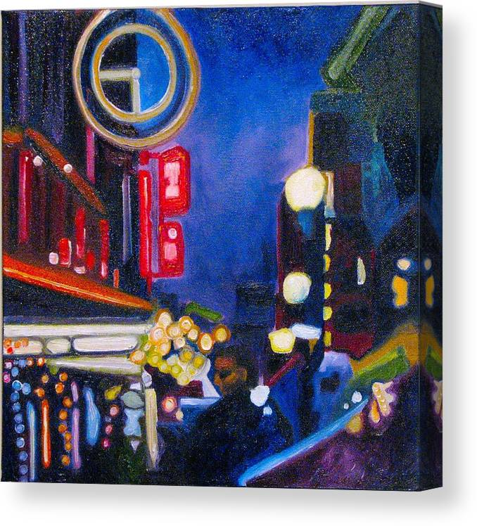 Night Scene Canvas Print featuring the painting Wandering At Dusk by Patricia Arroyo