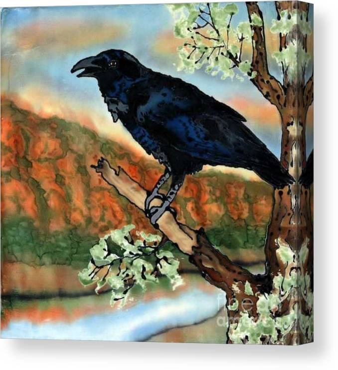 Silk Painting Canvas Print featuring the painting Watching The Sunset by Linda Marcille