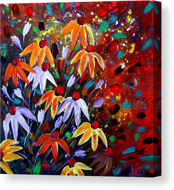 Flowers Canvas Print featuring the painting Wildflowers At Sunset by Luiza Vizoli
