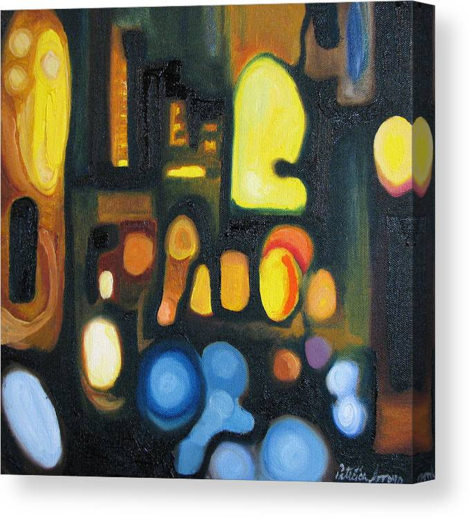 Abstract Canvas Print featuring the painting Yellow And Blue by Patricia Arroyo