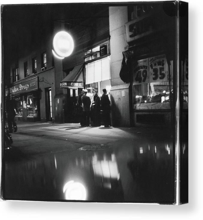 Artist Canvas Print featuring the photograph Outside The Cedar Street Tavern by Fred W. McDarrah