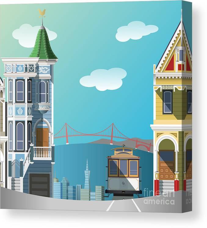 Francisco Canvas Print featuring the digital art San Francisco Landscape by Nikola Knezevic