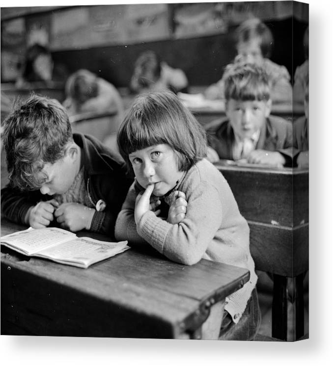 Furniture Canvas Print featuring the photograph Schooldays by Thurston Hopkins