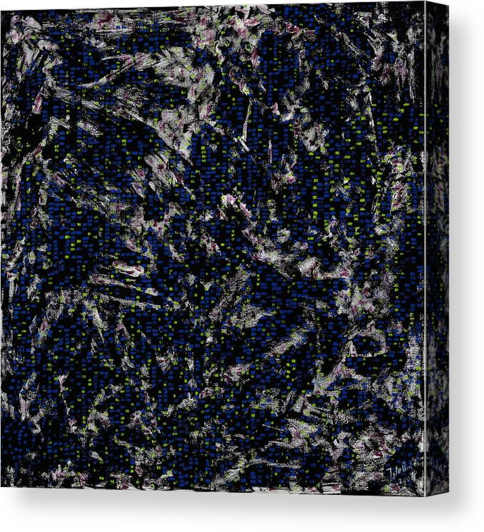 Square Painting Pattern Black Blue Canvas Print featuring the painting Classic Rock by Joan De Bot