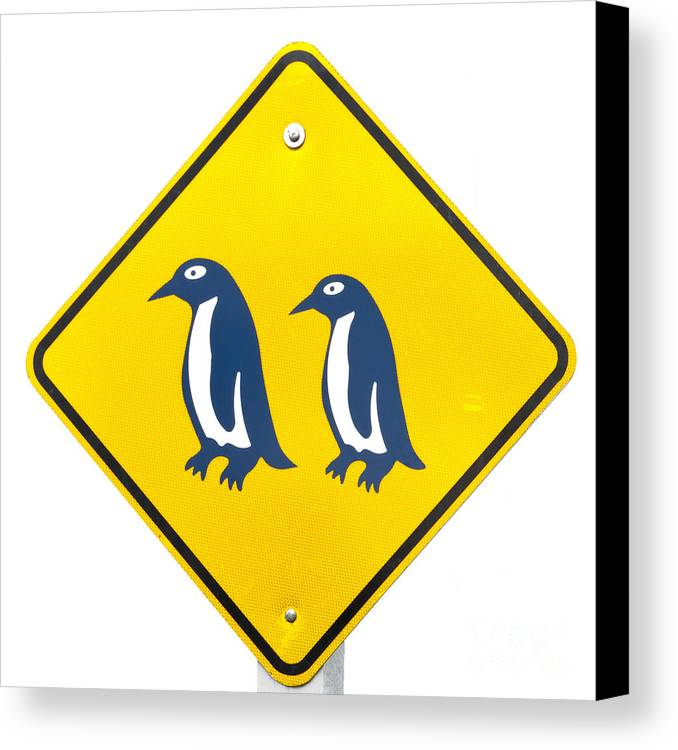 Animal Canvas Print featuring the photograph Attention Blue Penguin Crossing Road Sign by Stephan Pietzko