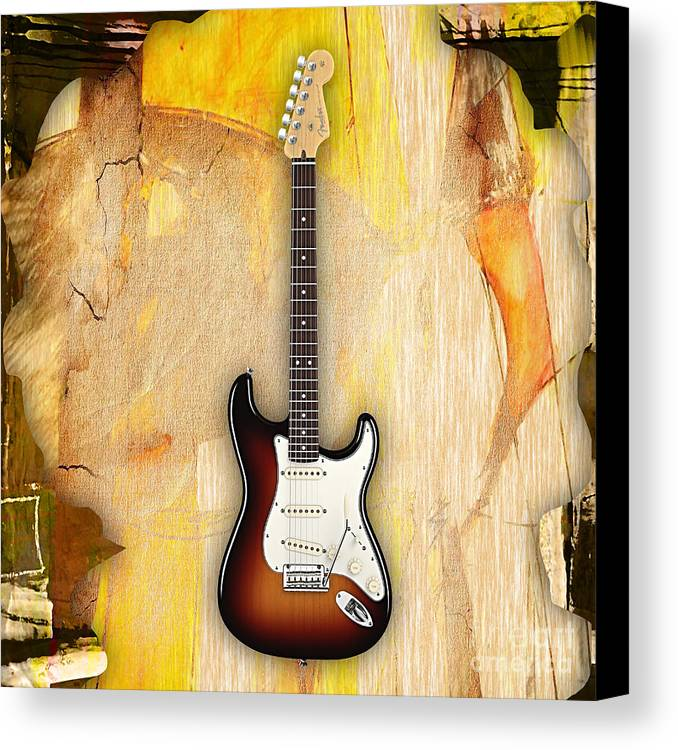 Fender Stratocaster Canvas Print featuring the mixed media Fender Stratocaster Collection by Marvin Blaine