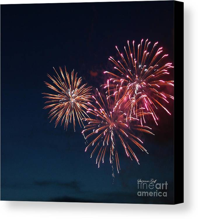 Fireworks Canvas Print featuring the photograph Fireworks Series Vi by Suzanne Gaff