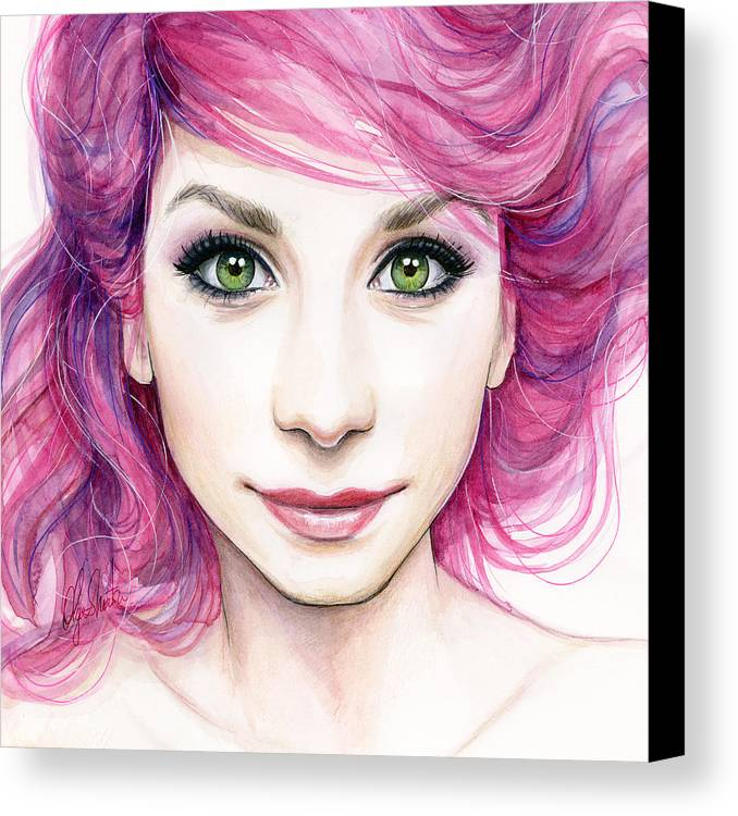 Magenta Canvas Print featuring the painting Girl With Magenta Hair by Olga Shvartsur