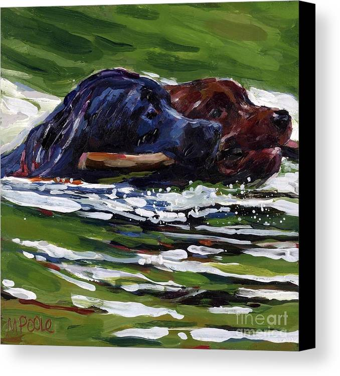 Labrador Retriever Canvas Print featuring the painting River Run by Molly Poole