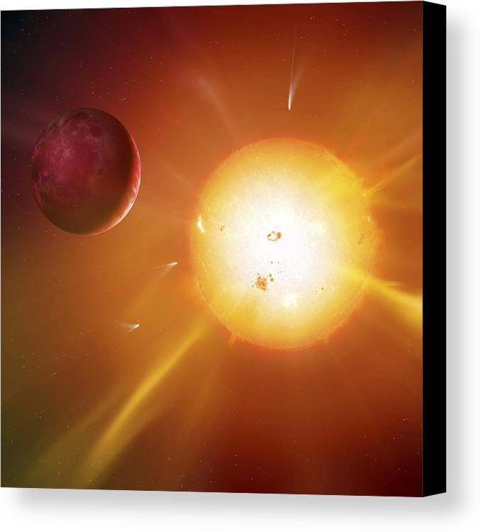 Artwork Canvas Print featuring the photograph Solar System Formation, Artwork by Science Photo Library
