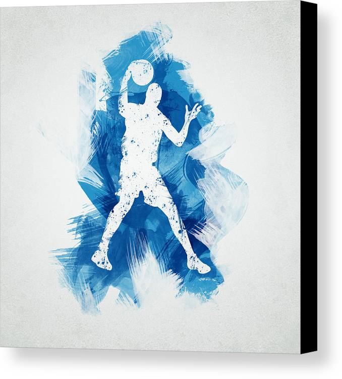 Abstract Canvas Print featuring the digital art Basketball Player by Aged Pixel
