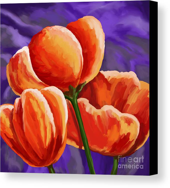 Tulips Canvas Print featuring the painting 3 Tulips Red Purple by Tim Gilliland