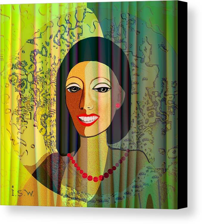 Woman Canvas Print featuring the digital art 416 - Lady With Nice Teeth by Irmgard Schoendorf Welch