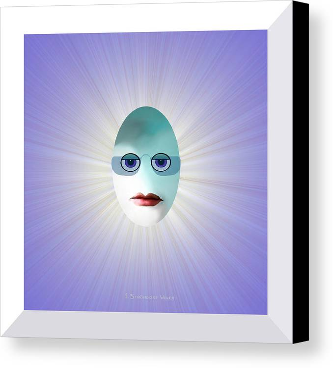 Egg Canvas Print featuring the painting 770 - Egghead  by Irmgard Schoendorf Welch
