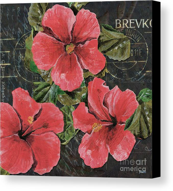 Pink Canvas Print featuring the painting Antique Hibiscus Black 3 by Debbie DeWitt