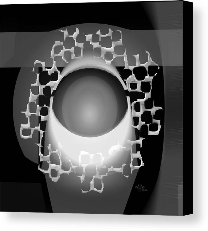 Geometric Abstract Greyscale Canvas Print featuring the digital art Ap27bw4 by Warren Furman
