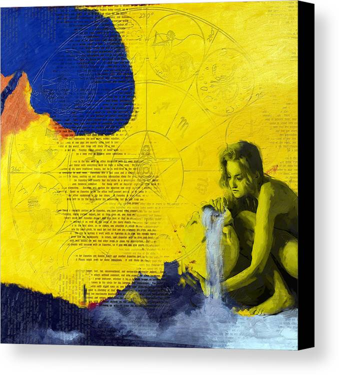 Aquarius Canvas Print featuring the painting Aquarius Abstract by Corporate Art Task Force