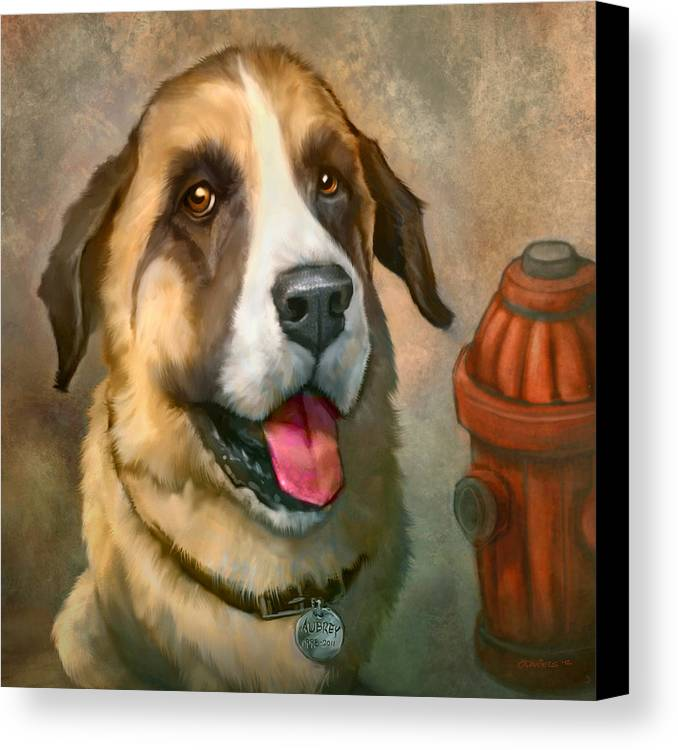 Dog Canvas Print featuring the painting Aubrey by Sean ODaniels