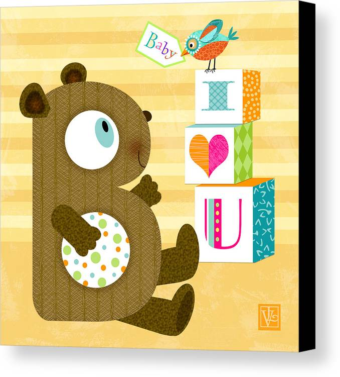 Letter B Canvas Print featuring the digital art B Is For Baby Bear by Valerie Drake Lesiak