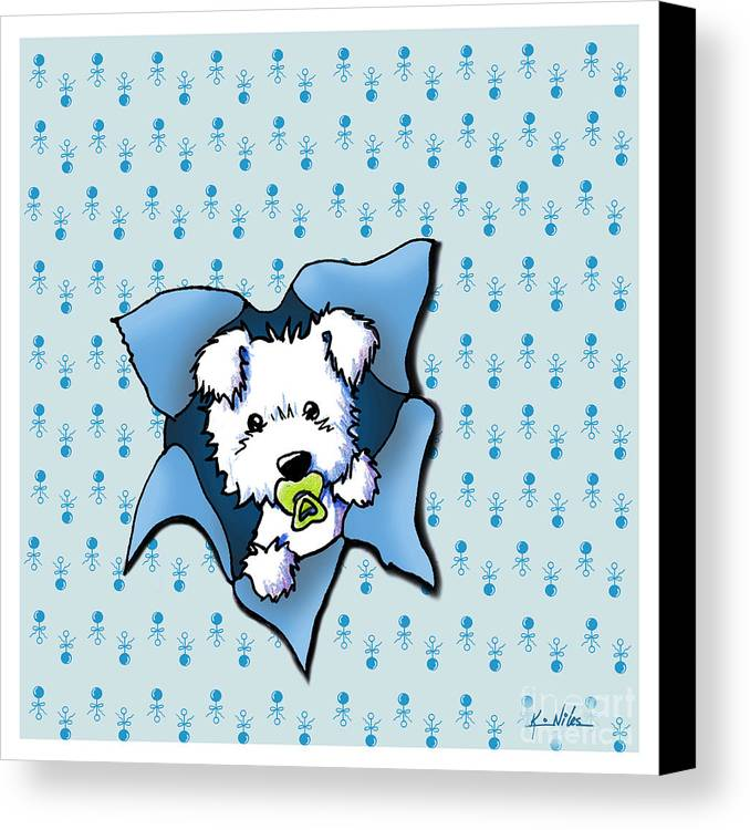 New Baby Art Canvas Print featuring the drawing Baby Westie Blast by Kim Niles