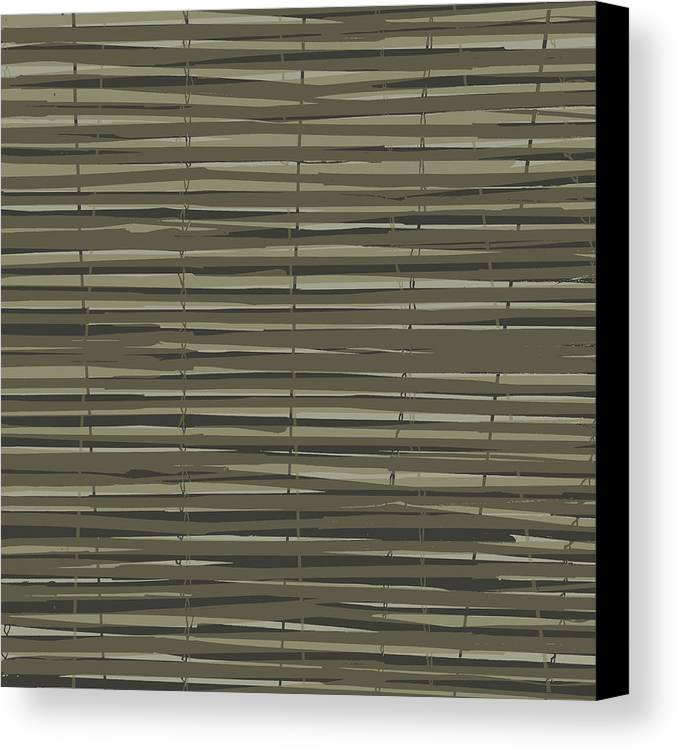 Pattern Canvas Print featuring the digital art Bamboo Fence - Gray And Beige by Saya Studios