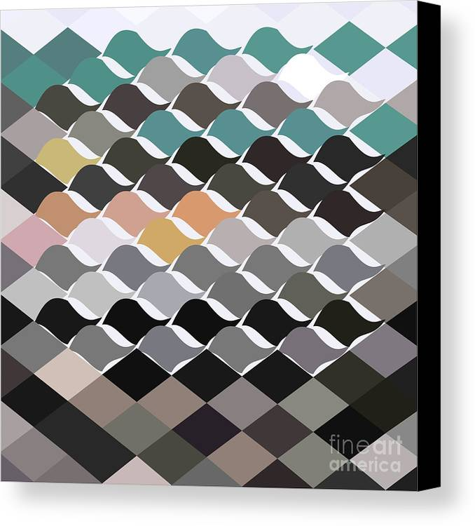 Low Polygon Canvas Print featuring the digital art Birds Flock Abstract Low Polygon Background by Aloysius Patrimonio