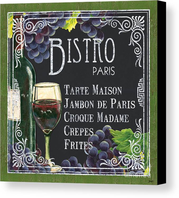 Bistro Canvas Print featuring the painting Bistro Paris by Debbie DeWitt