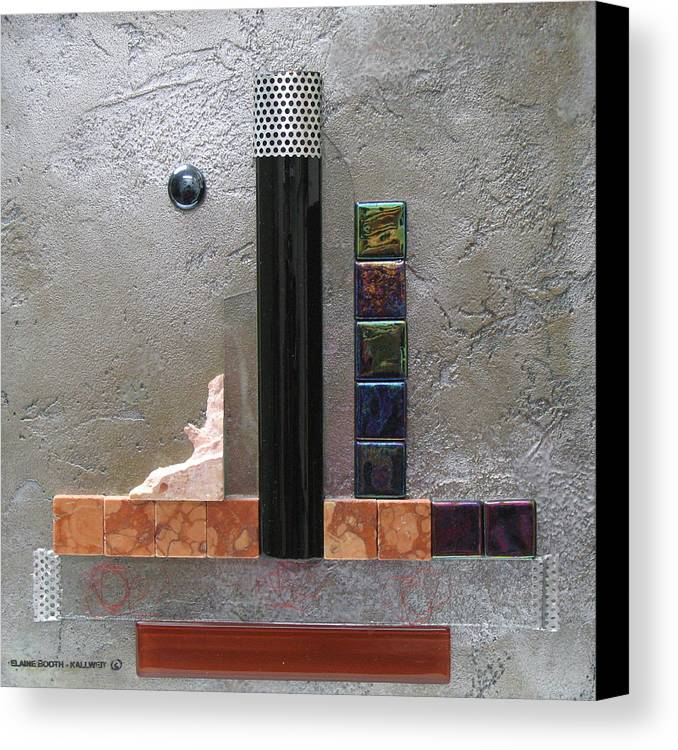 Assemblage Canvas Print featuring the relief Black Tower by Elaine Booth-Kallweit