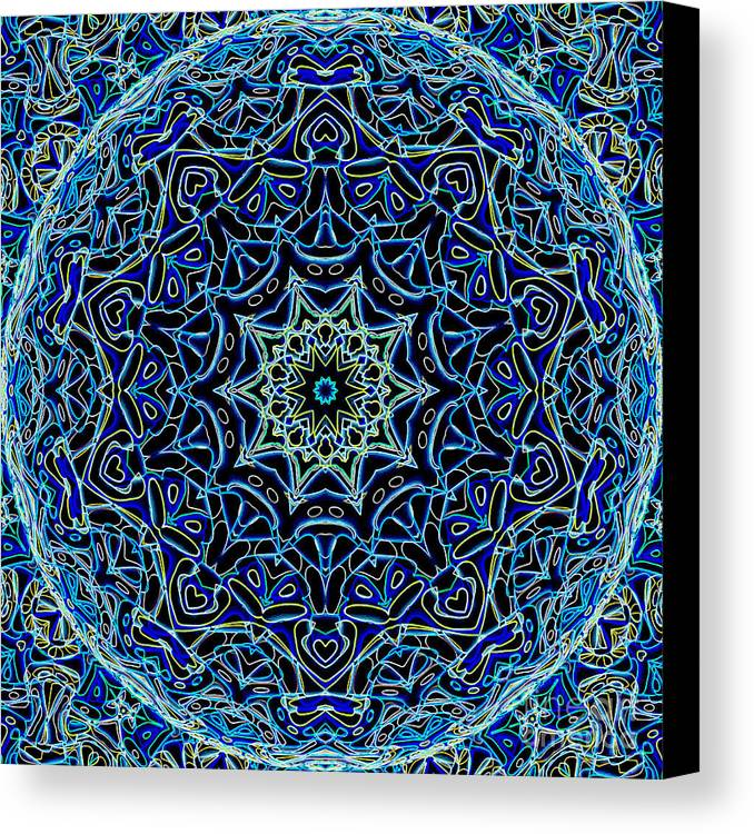 Abstract Canvas Print featuring the digital art Blue Planet by Ron Brown
