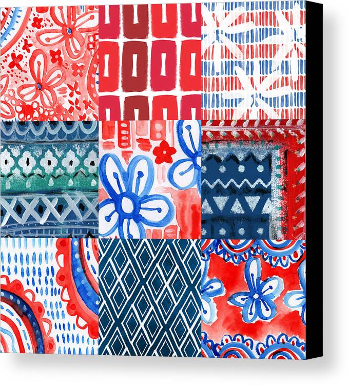 Americana Canvas Print featuring the painting Boho Americana- Patchwork Painting by Linda Woods