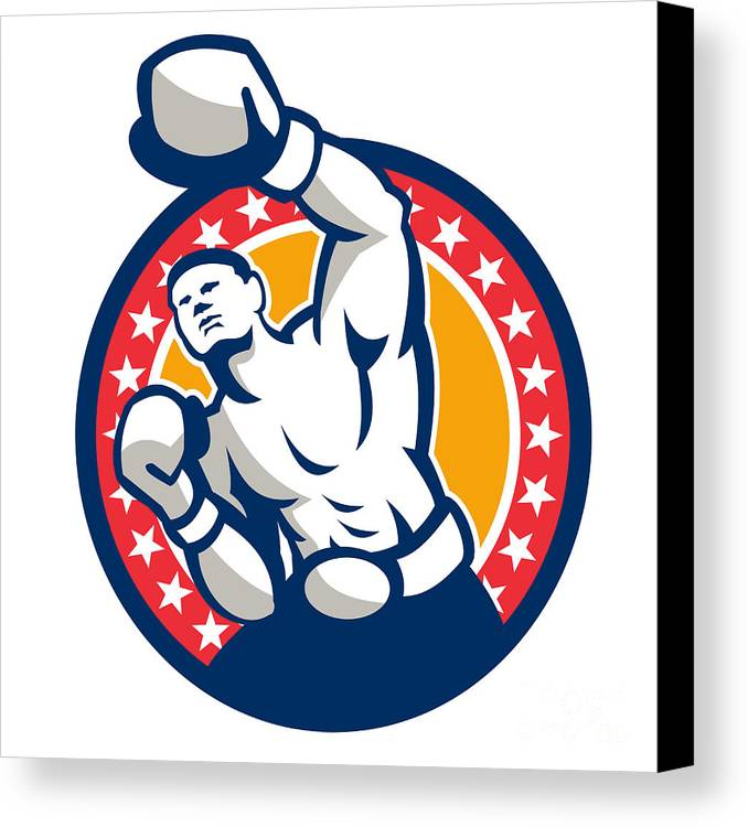 Boxer Canvas Print featuring the digital art Boxer Boxing Punching Jabbing Retro by Aloysius Patrimonio