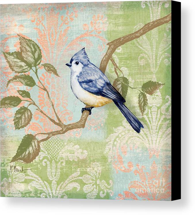 Fabric Canvas Print featuring the painting Brocade Songbird II by Paul Brent