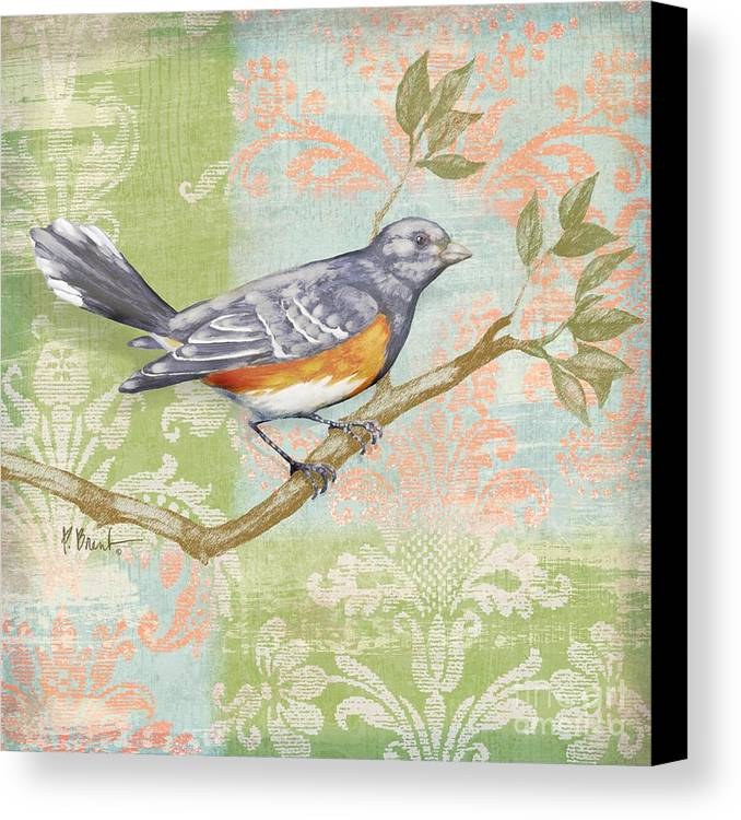 Fabric Canvas Print featuring the painting Brocade Songbird Iv by Paul Brent