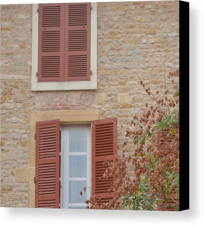 France Canvas Print featuring the photograph Rust Coloured Shutters by Cheryl Miller