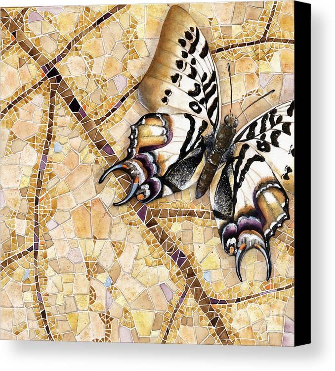 Acrylic Canvas Print featuring the painting Butterfly Mosaic 01 Elena Yakubovich by Elena Yakubovich