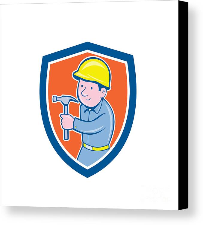 Builder Canvas Print featuring the digital art Carpenter Builder Hammer Shield Cartoon by Aloysius Patrimonio