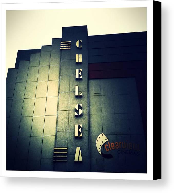 Chelsea Cinemas Canvas Print featuring the photograph Chelsea Art Deco Blue by Natasha Marco