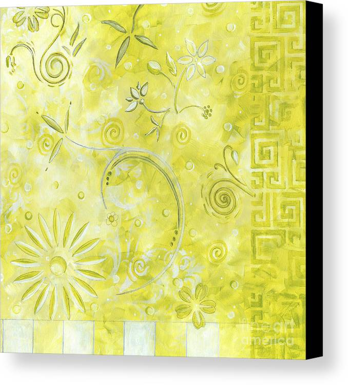 Coastal Canvas Print featuring the painting Coastal Decorative Citron Green Floral Greek Checkers Pattern Art Green Whimsy By Madart by Megan Duncanson
