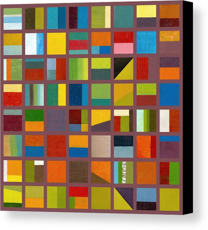 Abstract Canvas Print featuring the painting Color Study Collage 65 by Michelle Calkins