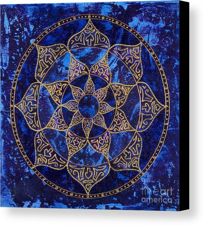 Mandala Canvas Print featuring the painting Cosmic Blue Lotus by Charlotte Backman