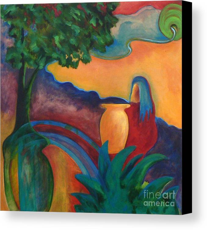 Tropical Canvas Print featuring the painting Costa Mango II by Elizabeth Fontaine-Barr