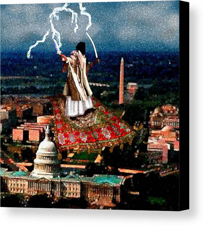 Washington Canvas Print featuring the painting Cubist Jihad by Jann Paxton