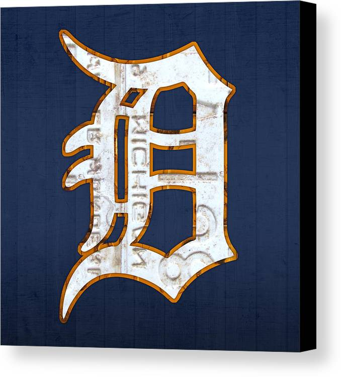 Detroit Tigers Baseball Old English D Logo License Plate Art Sports Michigan License Plate Map Canvas Print featuring the mixed media Detroit Tigers Baseball Old English D Logo License Plate Art by Design Turnpike