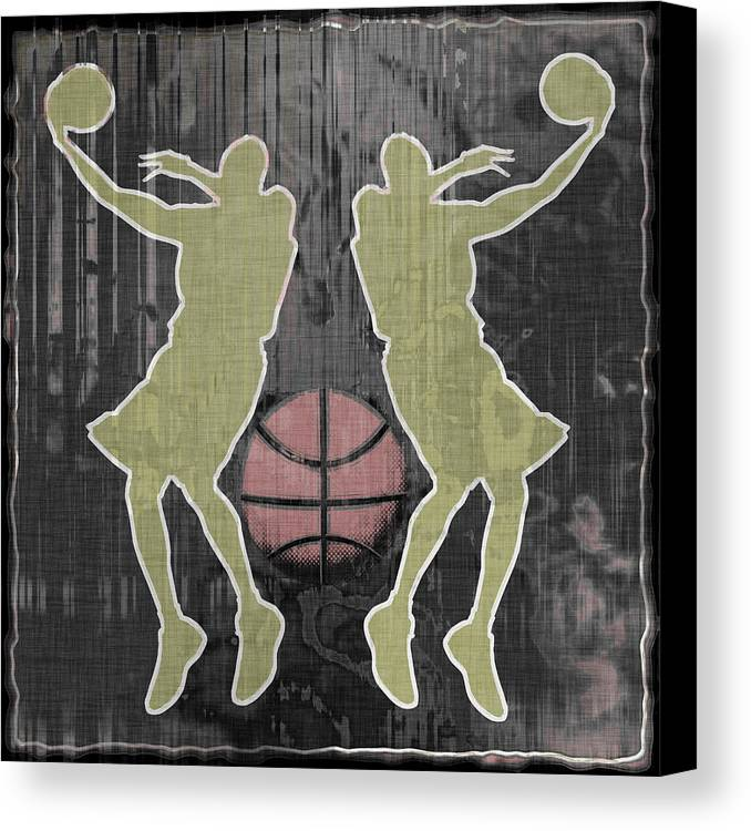 Basketball Canvas Print featuring the digital art Double Hook by David G Paul