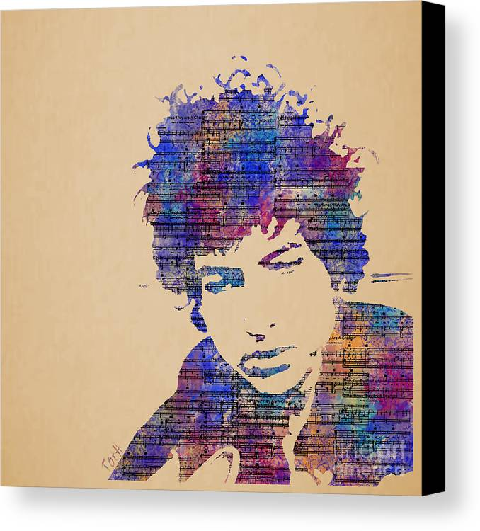 Dylan. Bob Dylan Canvas Print featuring the painting Dylan Watercolor by Laura Toth