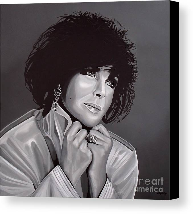 Elizabeth Taylor Canvas Print featuring the painting Elizabeth Taylor by Paul Meijering
