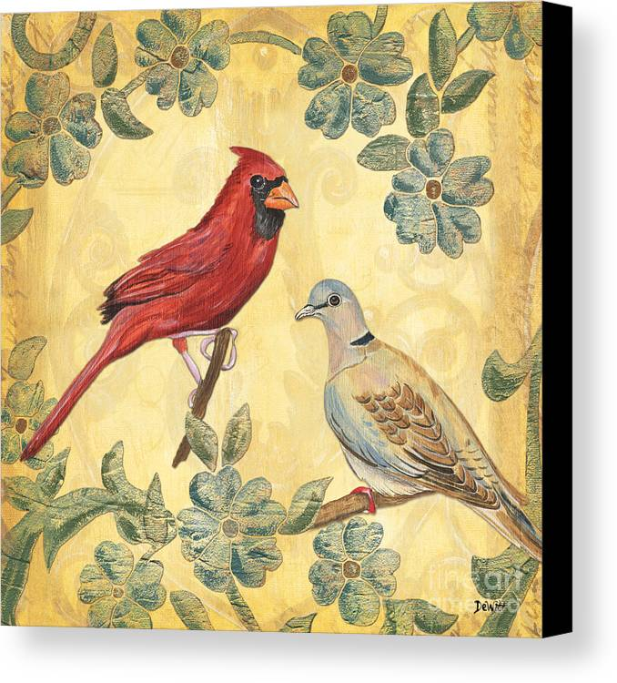 Birds Canvas Print featuring the painting Exotic Bird Floral And Vine 2 by Debbie DeWitt