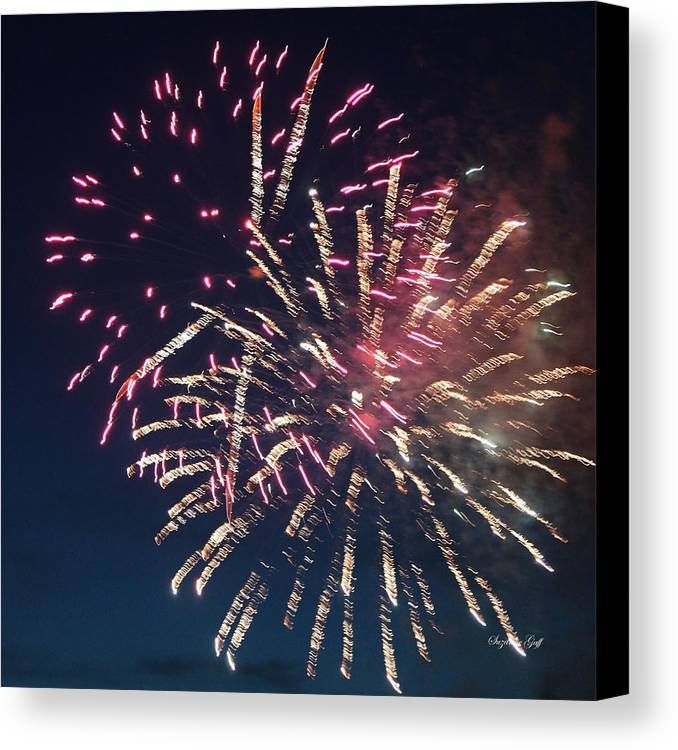 July Canvas Print featuring the photograph Fireworks Series Xiii by Suzanne Gaff